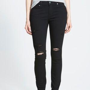 Paige Denim Black Ripped Skinny Jeans